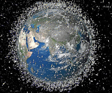 Recreación artística de la basura espacial. | ESA