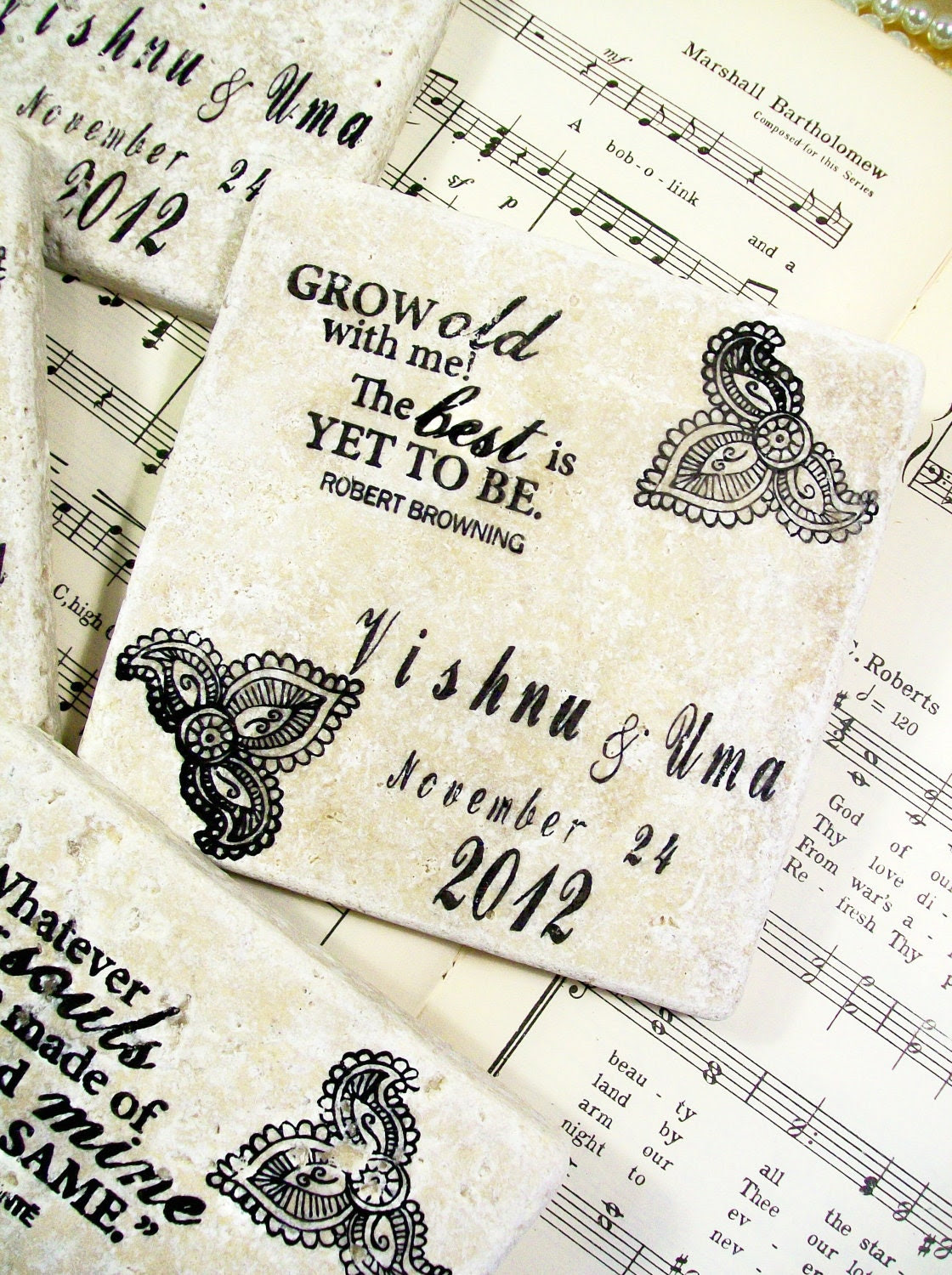 Wedding Coaster Set of 4 Personalized Wedding Gifts Love Quotes and Sayings Henna Design