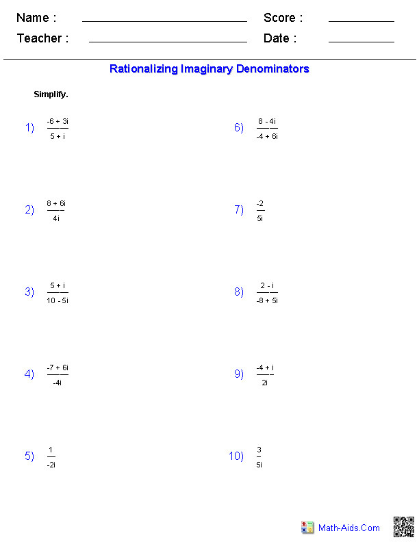 Rationalizing the Denominator Worksheet  Homeschooldressage.com