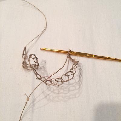 ヘンプヤーンで鎖編み