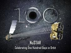 Artist's concept of NuSTAR celebrating one hundred days in orbit