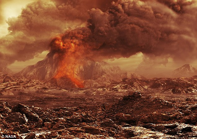 Nicknamed 'Earth's evil twin' with good reason, the second world from the sun - Venus - is a toxic and barren wasteland. Thick, heavy clouds laden with sulphuric acid hang in the hot, pressurised Venusian sky, topping the odd active volcano, which burp additional heat and toxicity (artist's illustration shown)
