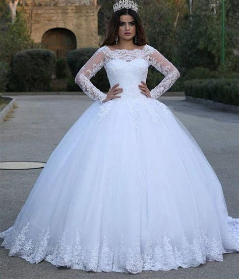 Modern Long Sleeve Lace 2019 Wedding Dresses Tulle Ball
