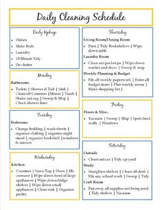 Printable Weekly Cleaning Schedule | Next day, My life and House