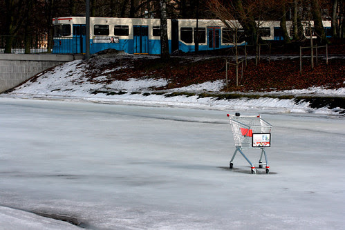 Trolley on ice with tram
