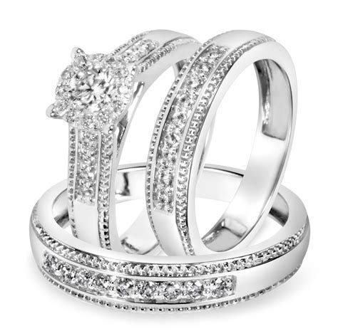 7/8 Carat T.W. Diamond Trio Matching Wedding Ring Set 14K
