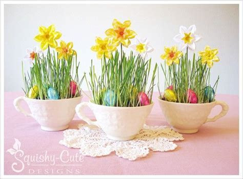 Easter centerpiece   paper daffodils   spring birthday