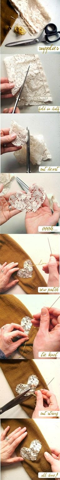 Do it yourself lacy heart elbow patch :-  For making lacy heart elbow patch we need...... click on picture to read full..