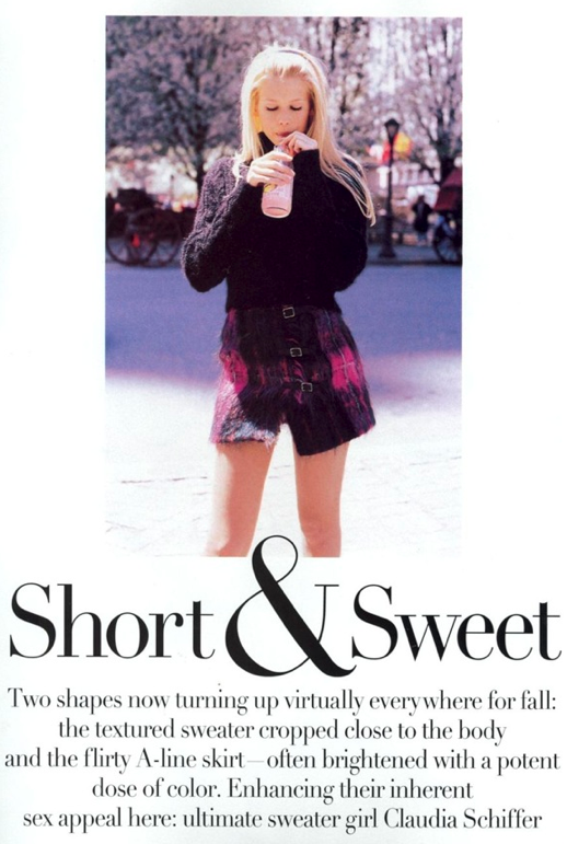 LE FASHION BLOG CLAUDIA SCHIFFER VOGUE 1994 SHORT AND SWEET EDITORIAL SHORT SKIRTS FUZZY KNIT SWEATERS CLUELESS INSPIRED BUCKLE PLAID COLORFUL BRIGHT ANGORA MOHAIR SHORT SLEEVE CARDIGAN CAP TOE CHANEL HEELS LONG BLONDE HAIR BEAUTY NEW YORK CITY NYC 1990s