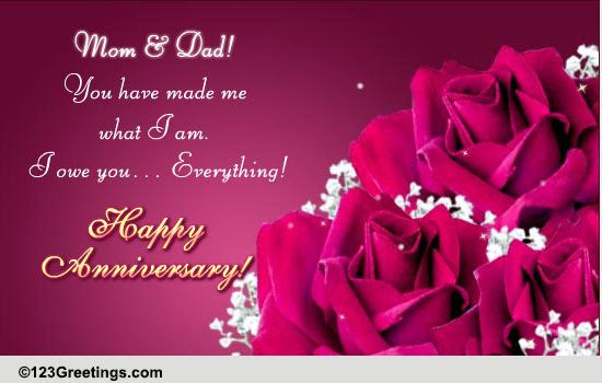 Happy Anniversary Mom Dad Free Family Wishes Ecards 123 Greetings