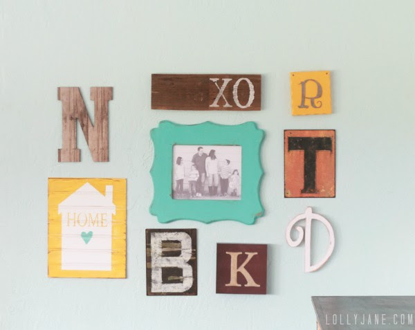 monogram gallery wall #decoratingwithpictures #gallerywall