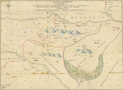 map of northern Croatia 1740