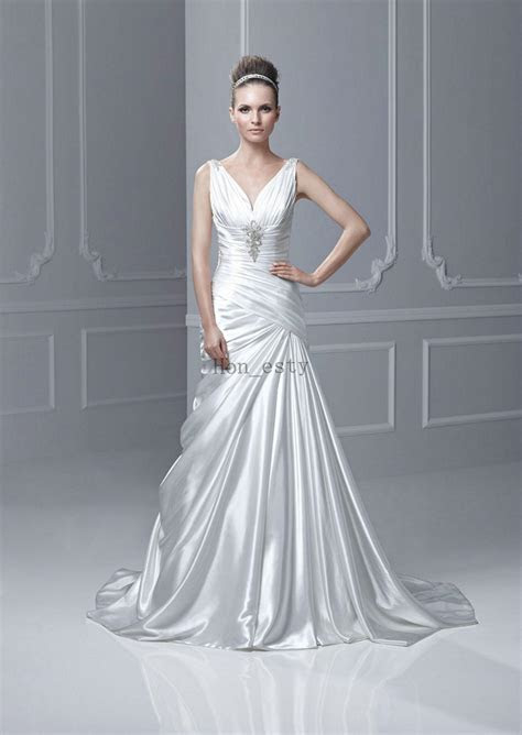 Discount Designer A Line Wedding Dresses Silk Like Satin V
