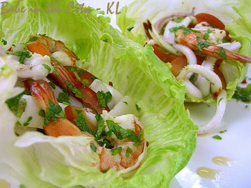Thai Seafood Salad with Zesty Kasturi Lime, Lemongrass and Extra Virgin Olive Oil Dressing