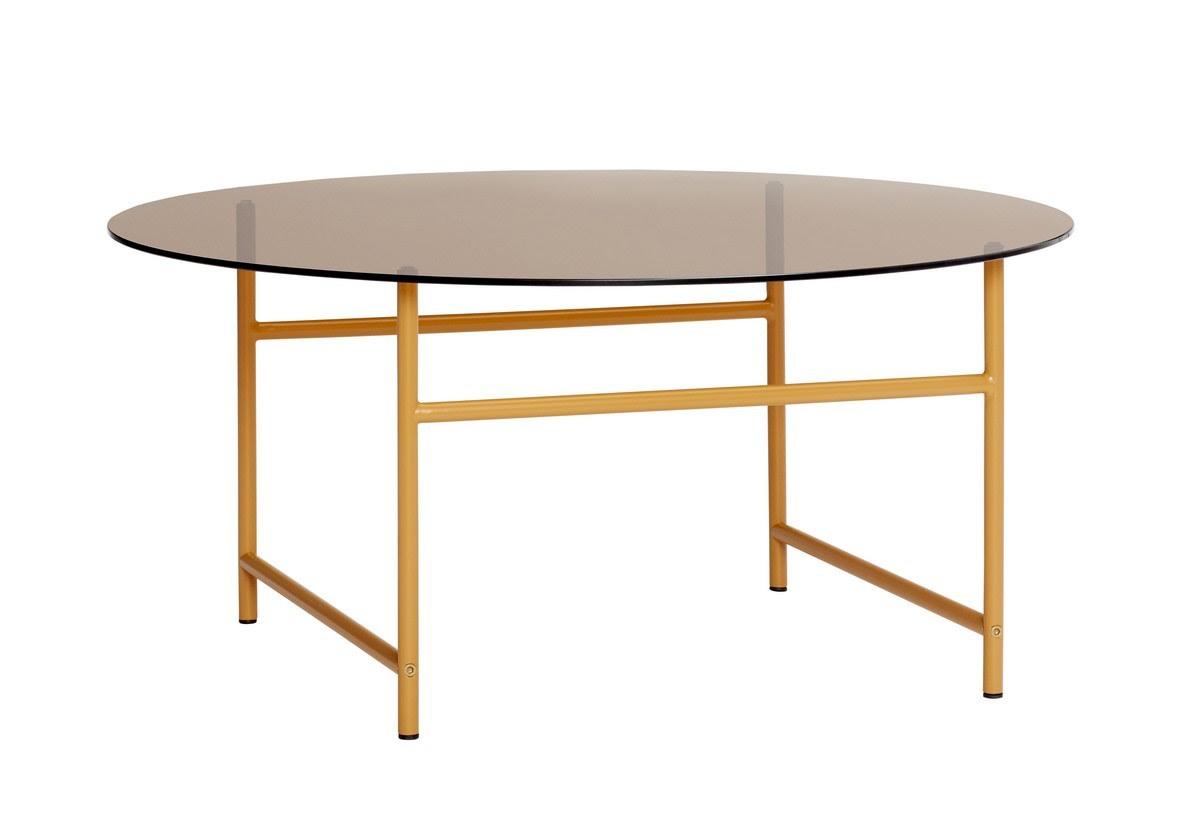 Hubsch Table Basse Ronde Style Retro Verre Teinte Pieds Metal Orange