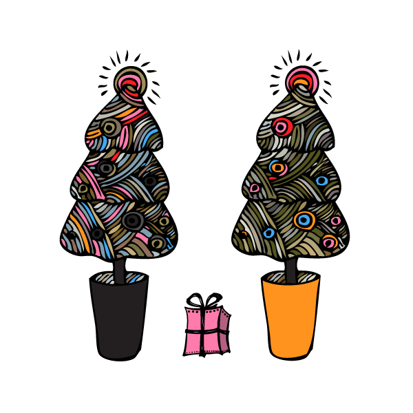 Pattern Swatches with Christmas Trees and Present Vector ...