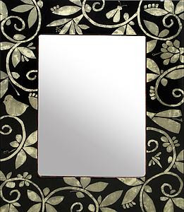 Mother of Pearl Tapestry Vanity Mirror - Mixed-Media Mirror - by Lara Moore