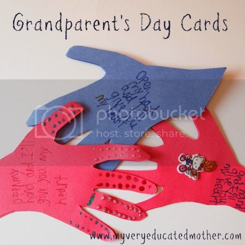 Kids Craft: Grandparent's Day Cards #kidscraft #grandparentsday #crafting