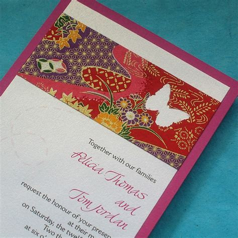 Japanese Butterfly Handmade Wedding Invitation   Japanese