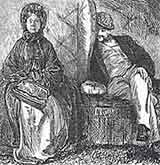 'Punch' cartoon, depicting a Victorian woman travelling alone on a train