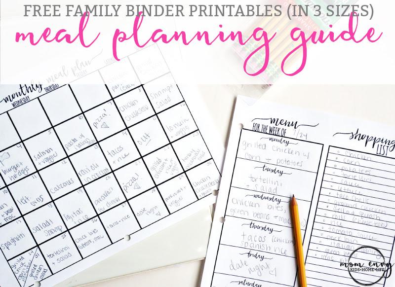 Meal Planning Printables Free Family Binder Printables