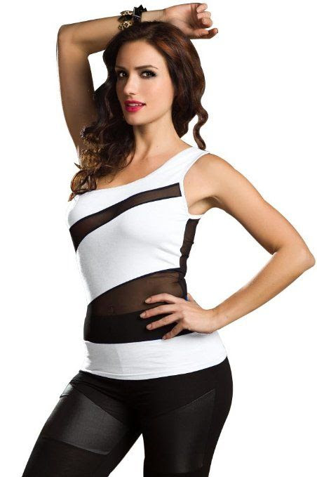 ASYMMETRIC BLACK AND WHITE:  Amour Club Top