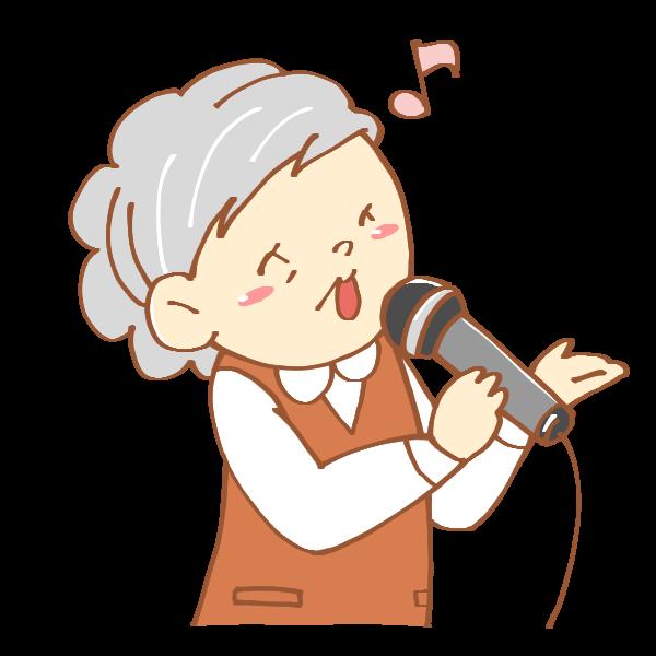 歌うおばあさんのイラスト かわいいフリー素材が無料のイラストレイン
