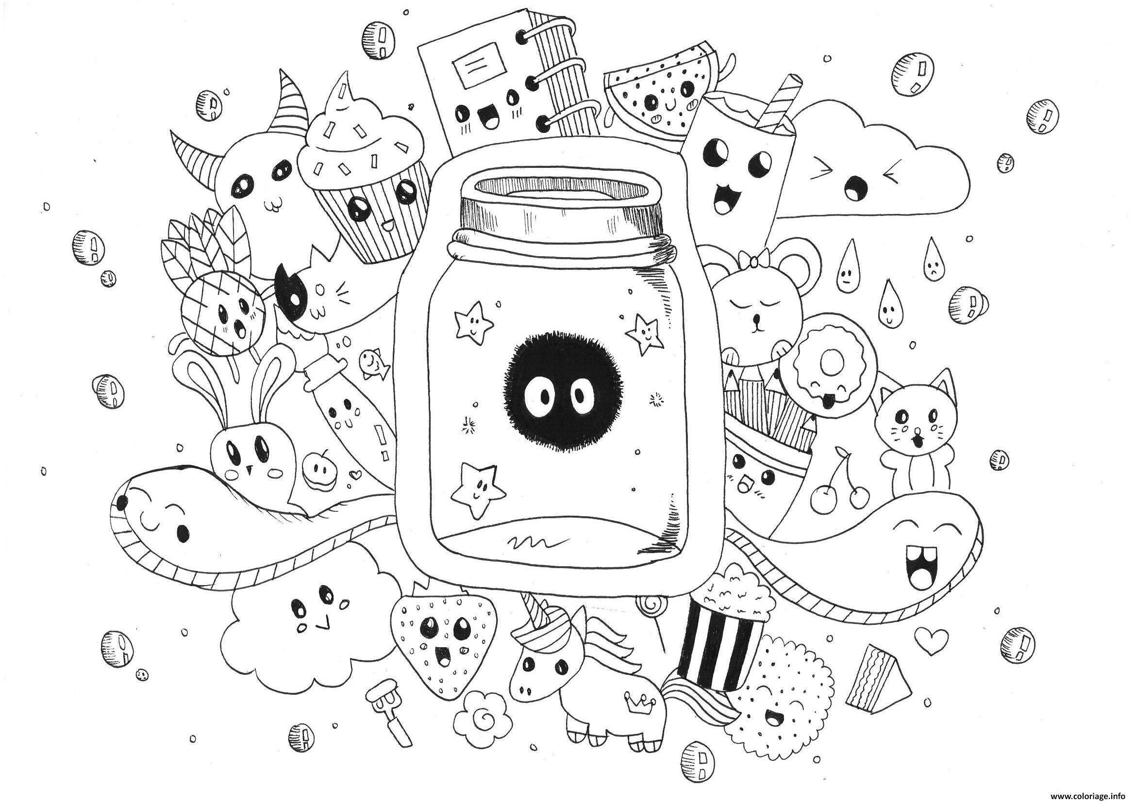 Coloriage manga adulte kawaii doodle rachel