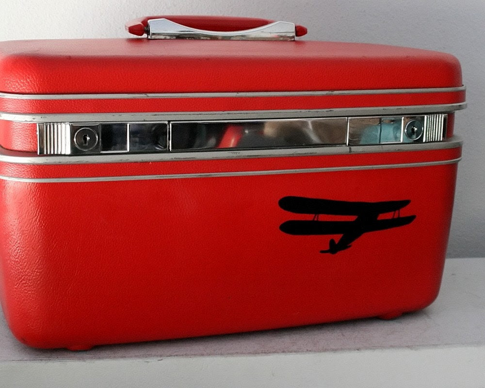 UPCYCLED Red VINTAGE Train Case with a BIPLANE ready for a quote and college