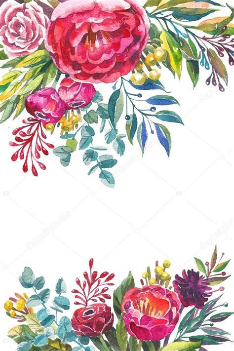 Watercolor flowers frame template. ? Stock Photo