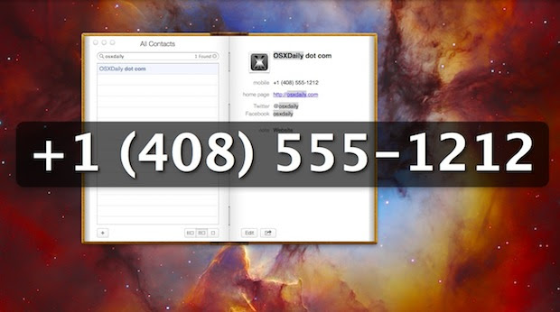 Large phone number shown in Contacts app of OS X