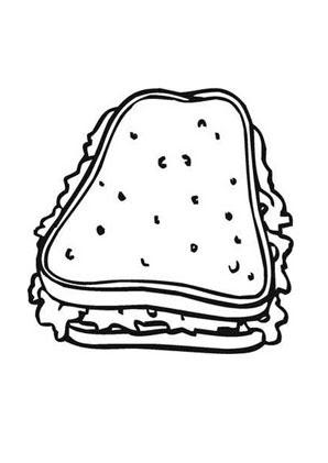 Ausmalbilder Belegtes Sandwich - Speisen und Essen ...