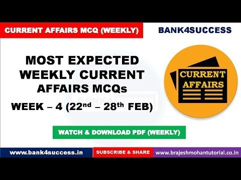 Weekly Current Affairs MCQs February Month (22nd - 28th) PDF Download | Latest GK