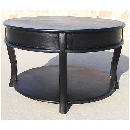 Large Solid Wood Round Sofa Cocktail Black Coffee Table