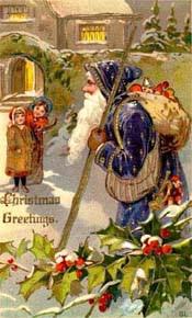 Victorian Christmas Card Santa