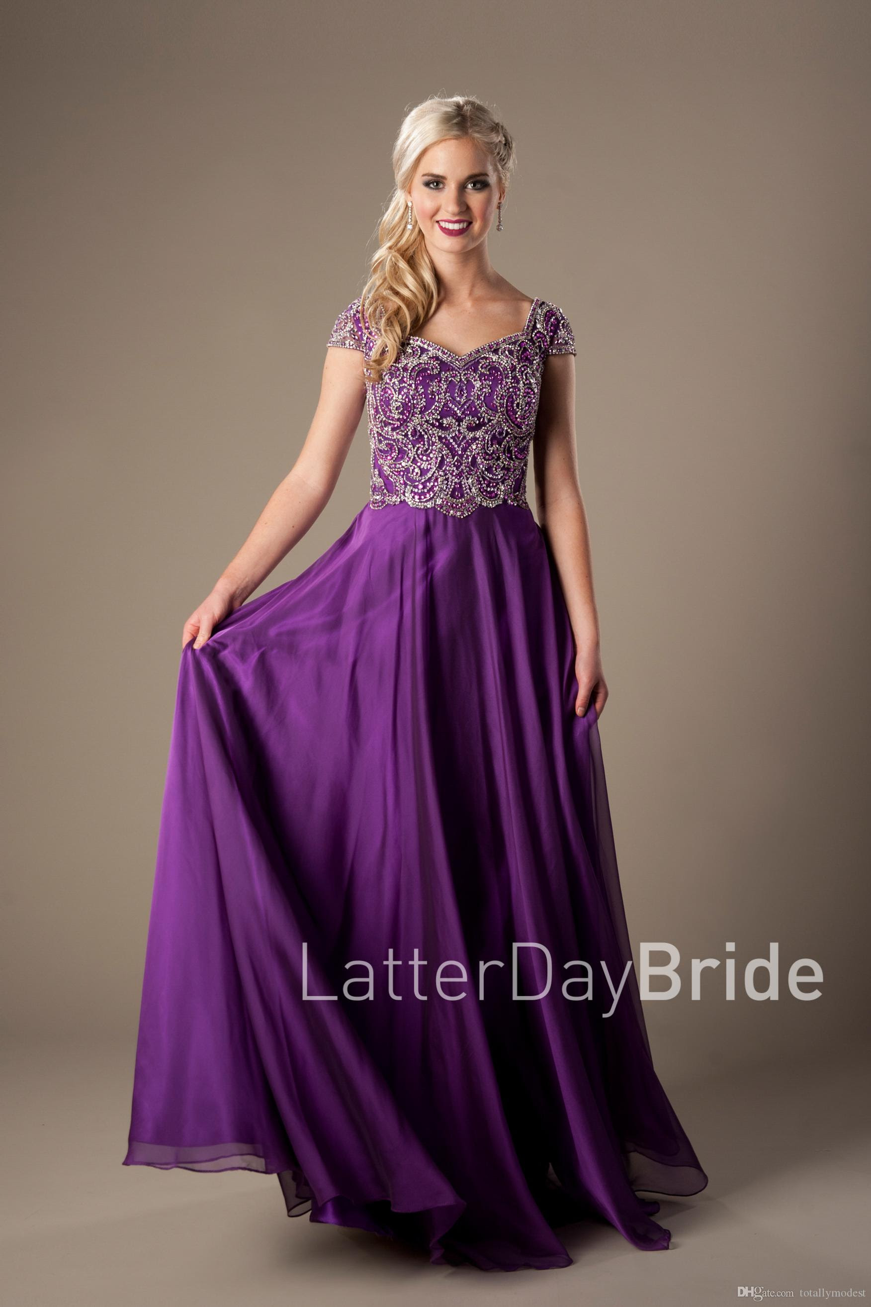 sparkly heavily beaded bodice purple long modest evening