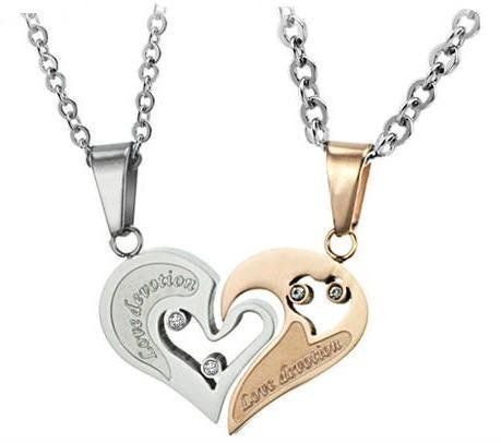 "LOVE UNITED: Stainless Steel Diamond Accent His&Hers ""Love Devotion"" Heart Necklaces,18"" and 20""-sn3225: Jewelry"