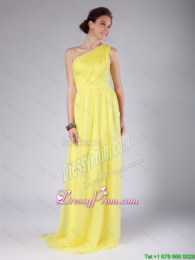 Elegant One Shoulder Sashes Yellow Prom Dresses with Sweep Train for 2016 700