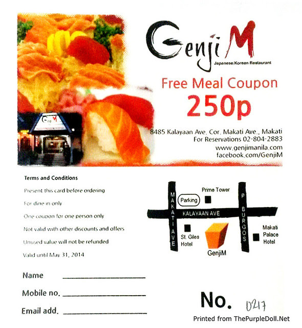 Genji-M P250 Meal Coupon