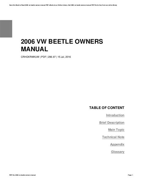 2006 vw beetle owners manual