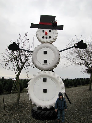 cute snowman out of tires!
