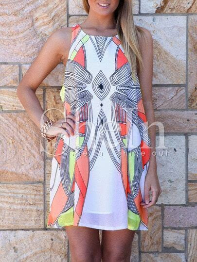 White Sleeveless Geometric Print Dress pictures