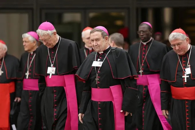 Bishops exiting the Vatican's Paul VI Hall during the Synod on the Family, Oct. 9, 2015. Credit: Daniel Ibanez/CNA.