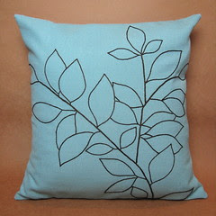 Embroidered Leaves Pillow