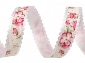 Wstążka rypsowa szerokość 15 mm kwiaty