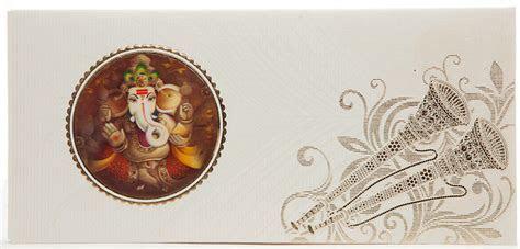 Indian Wedding Card With 3D Ganesha, Shehnai & Morpankh