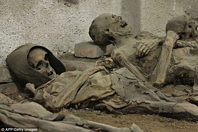 Not many left: Only two dozen of the original 200 mummies buried in the tomb are still remaining