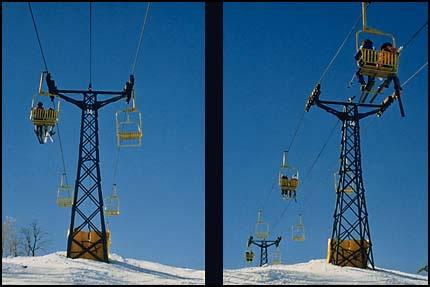 2 views of ski lift