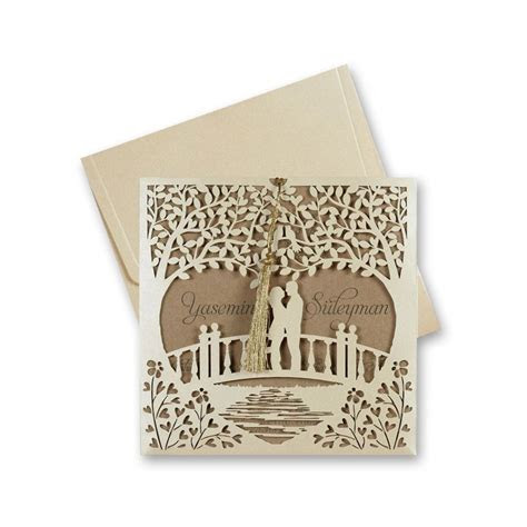 Laser Cut Love Tree Design Wedding Invitation 2680