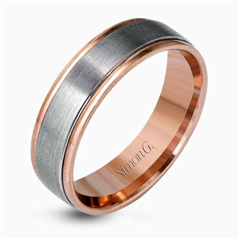 platinum  rose gold brushed  tone mens wedding
